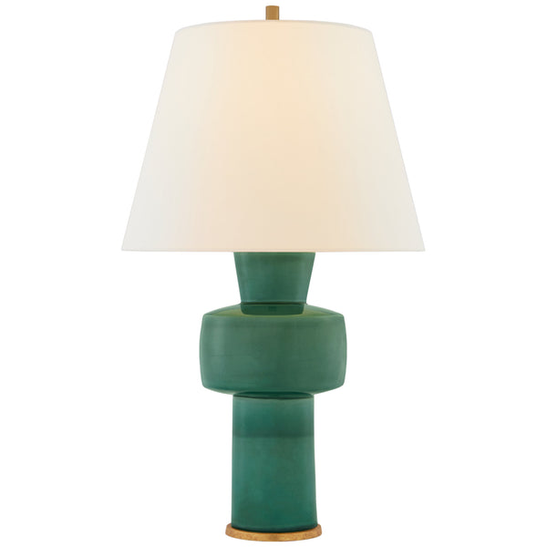 Visual Comfort CS 3656CGC-L Christopher Spitzmiller Eerdmans Medium Table Lamp in Celtic Green Crackle