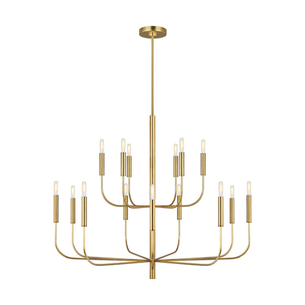Generation Lighting EC10015BBS Ellen DeGeneres Brianna 15 Light Chandelier in Burnished Brass