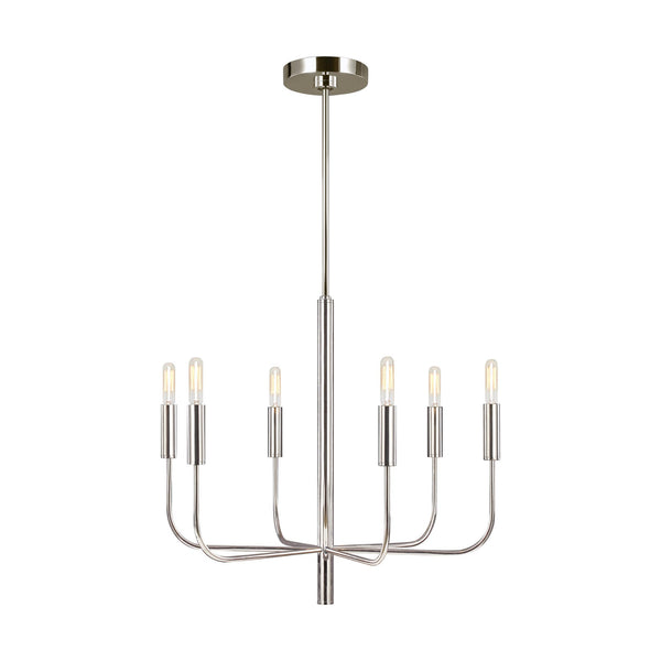 Generation Lighting EC1006PN Ellen DeGeneres Brianna 6 Light Chandelier in Polished Nickel