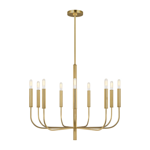 Generation Lighting EC1009BBS Ellen DeGeneres Brianna 9 Light Chandelier in Burnished Brass