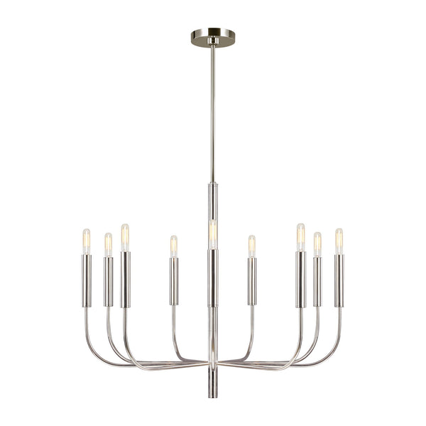 Generation Lighting EC1009PN Ellen DeGeneres Brianna 9 Light Chandelier in Polished Nickel