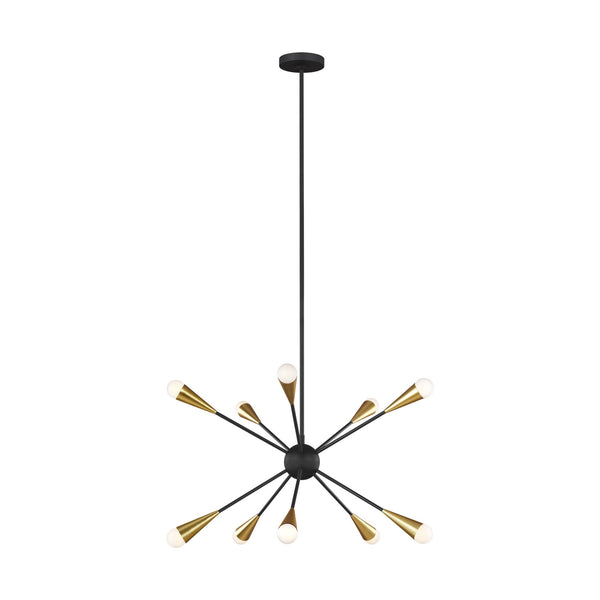Generation Lighting EC10310MBK Ellen DeGeneres Jax 10 Light Chandelier in Midnight Black / Burnished Brass
