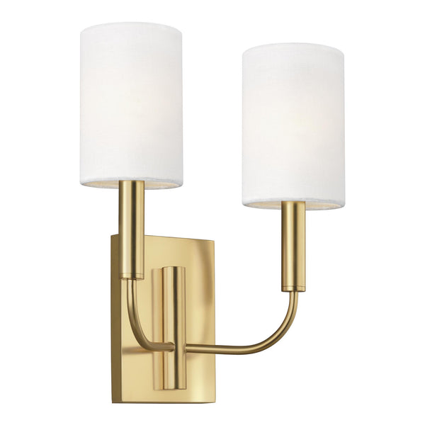 Generation Lighting EW1002BBS Ellen DeGeneres Brianna 2 Light Wall / Bath Light in Burnished Brass