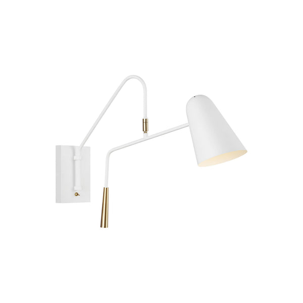 Generation Lighting EW1041MWT Ellen DeGeneres Simon 1 Light Wall / Bath Light in Matte White / Burnished Brass