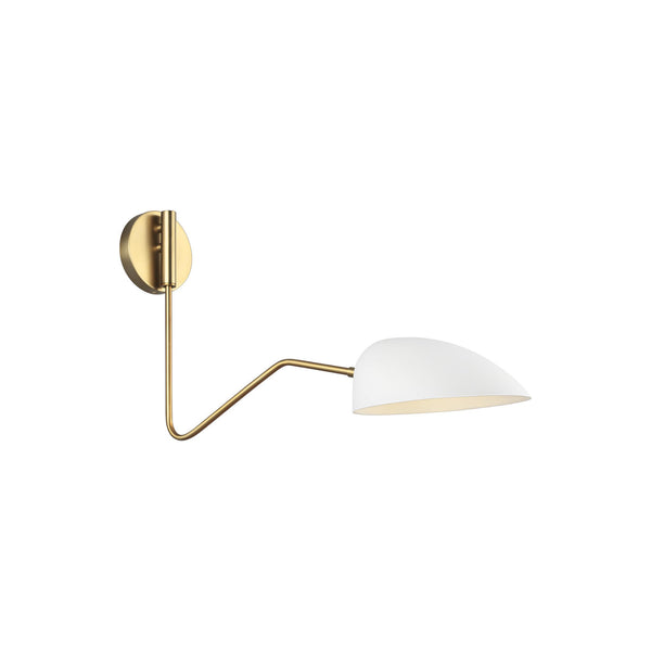 Generation Lighting EW1071MWT Ellen DeGeneres Jane 1 Light Wall / Bath Light in Matte White / Burnished Brass