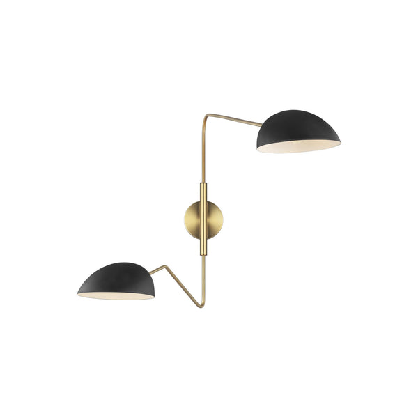 Generation Lighting EW1072MBK Ellen DeGeneres Jane 2 Light Wall / Bath Light in Midnight Black / Burnished Brass