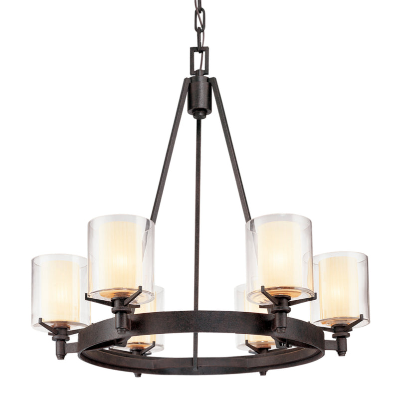 Troy Lighting F1716FR Arcadia 6lt Chandelier in Hand-Worked Iron