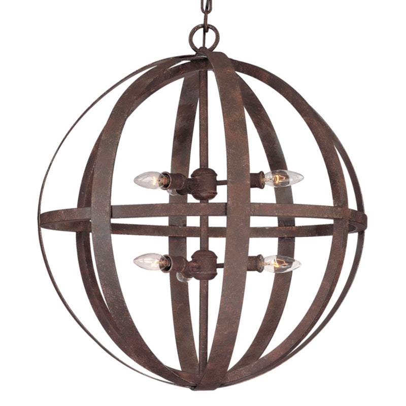 Troy Lighting F2516WI Flatiron 6lt Pendant Large in Hand-Worked Iron