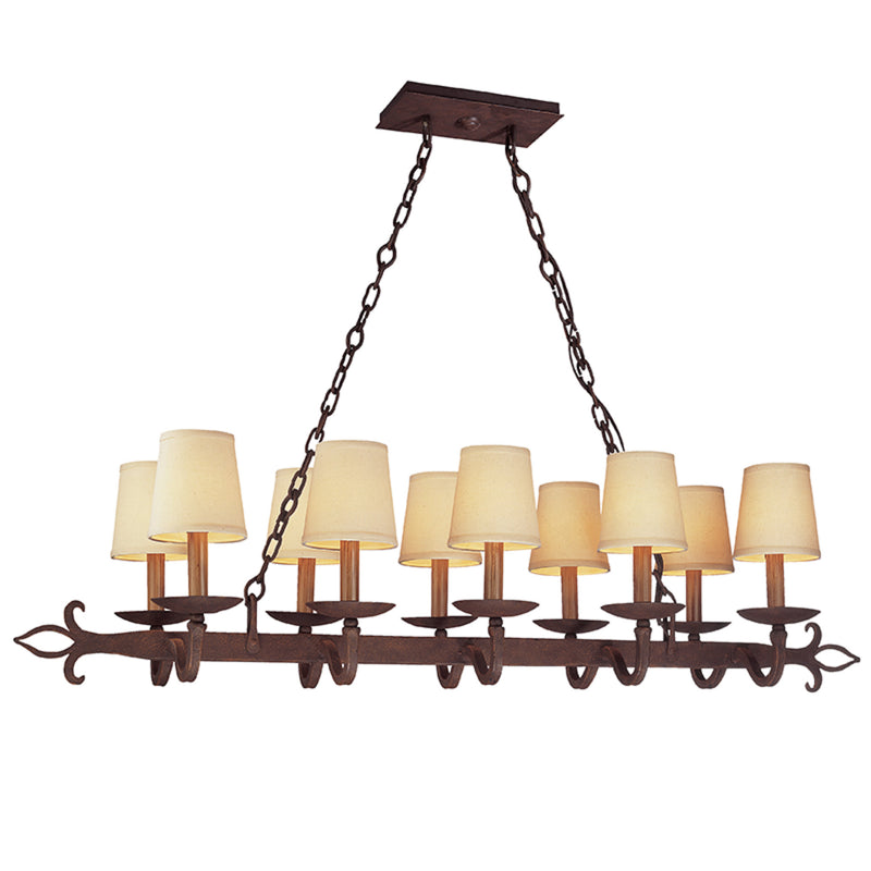 Troy Lighting F2718 Lyon 10lt Island in Hand-Worked Iron