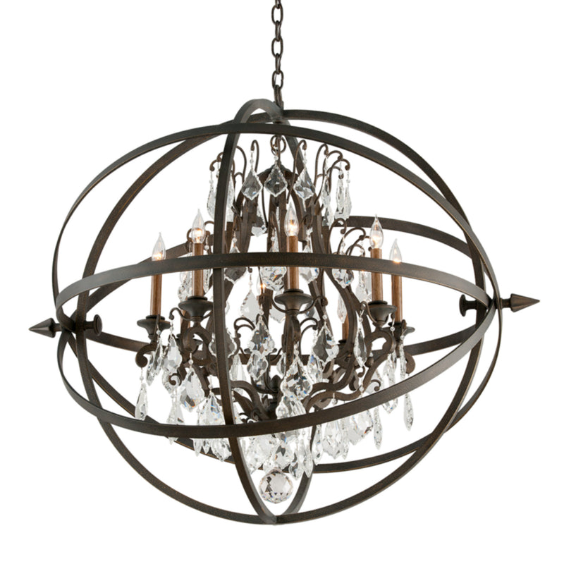 Troy Lighting F2998 Byron 8lt Chandelier Extra Large in Hand-Worked Iron
