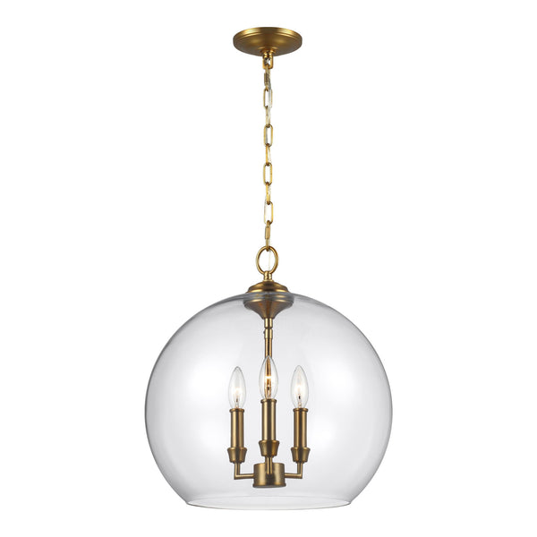 Generation Lighting F3155/3BBS Feiss Lawler 3 Light Pendant in Burnished Brass
