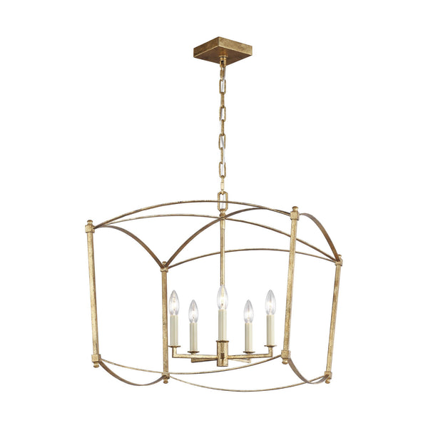 Generation Lighting F3325/5ADB Feiss Thayer 5 Light Chandelier in Antique Gild