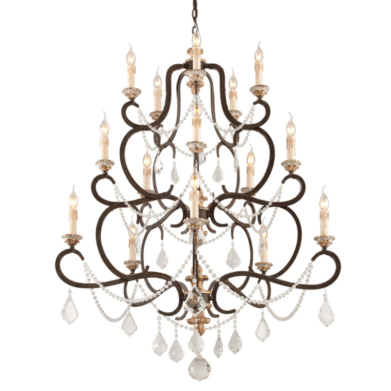 Troy Lighting F3517 Bordeaux 15lt Chandelier Large in Hand-Worked Iron