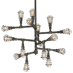 Troy Lighting F3818 Conduit 16lt Chandelier Extra Large in Hand-Worked Iron