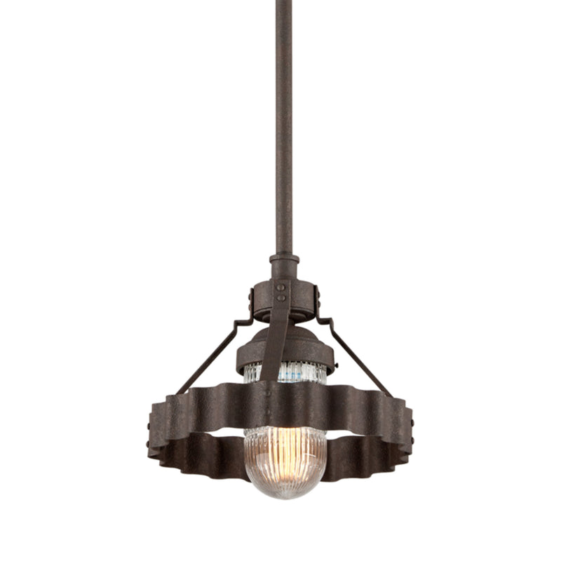 Troy Lighting F4243 Canary Wharf 1lt Pendant Small in Hand-Worked Aluminum