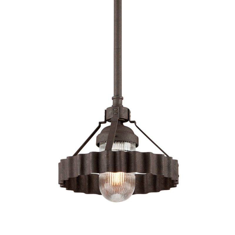Troy Lighting F4244 Canary Wharf 1lt Pendant Medium in Hand-Worked Aluminum