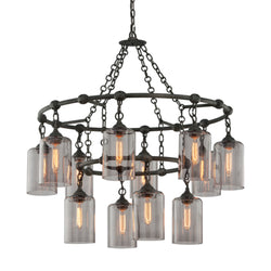 Troy Lighting F4425 Gotham 12lt Pendant Large in Hand-Worked Iron