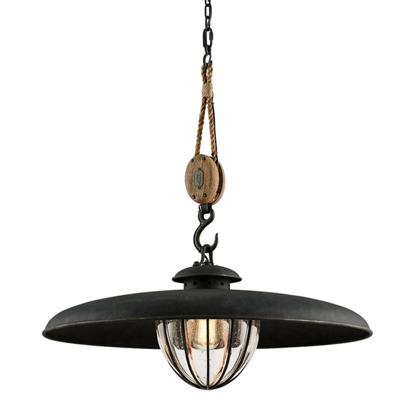 Troy Lighting F4907 Murphy 1lt Pendant With Shade Large in Hand-Worked Iron