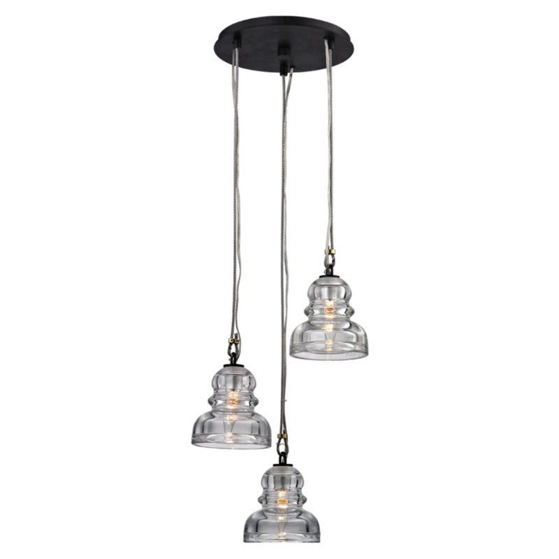 Troy Lighting F6053 Menlo Park 3lt Mini in Hand-Worked Iron