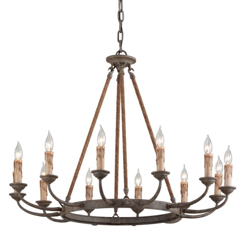 Troy Lighting F6117 Cyrano 12lt Chandelier in Hand-Worked Iron