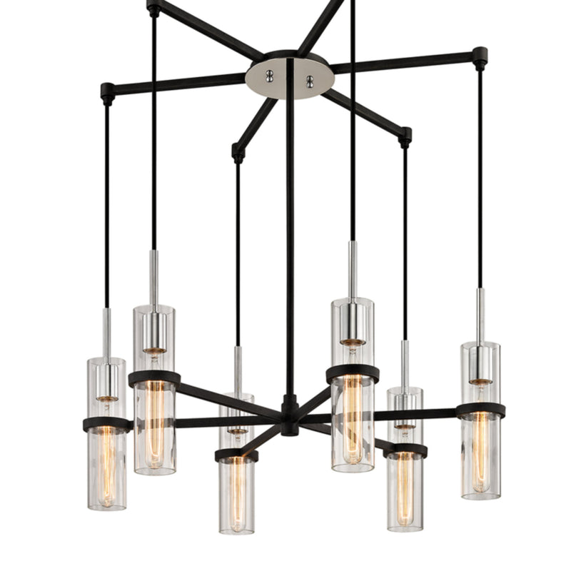 Troy Lighting F6196 Xavier 6lt Pendant in Hand-Worked Iron