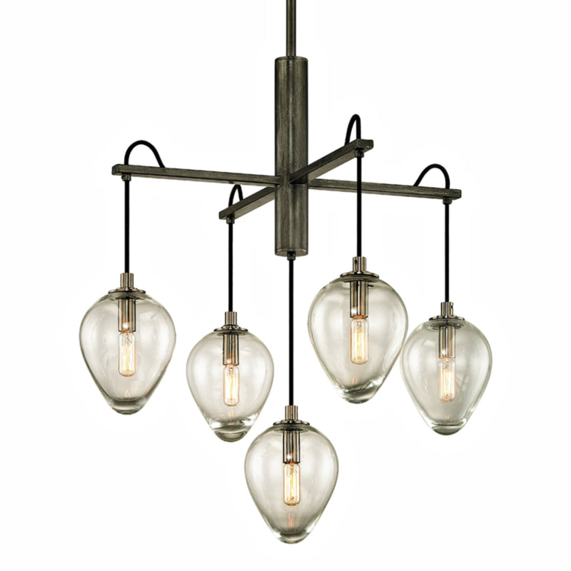 Troy Lighting F6206 Brixton 5lt Pendant in Hand-Worked Iron
