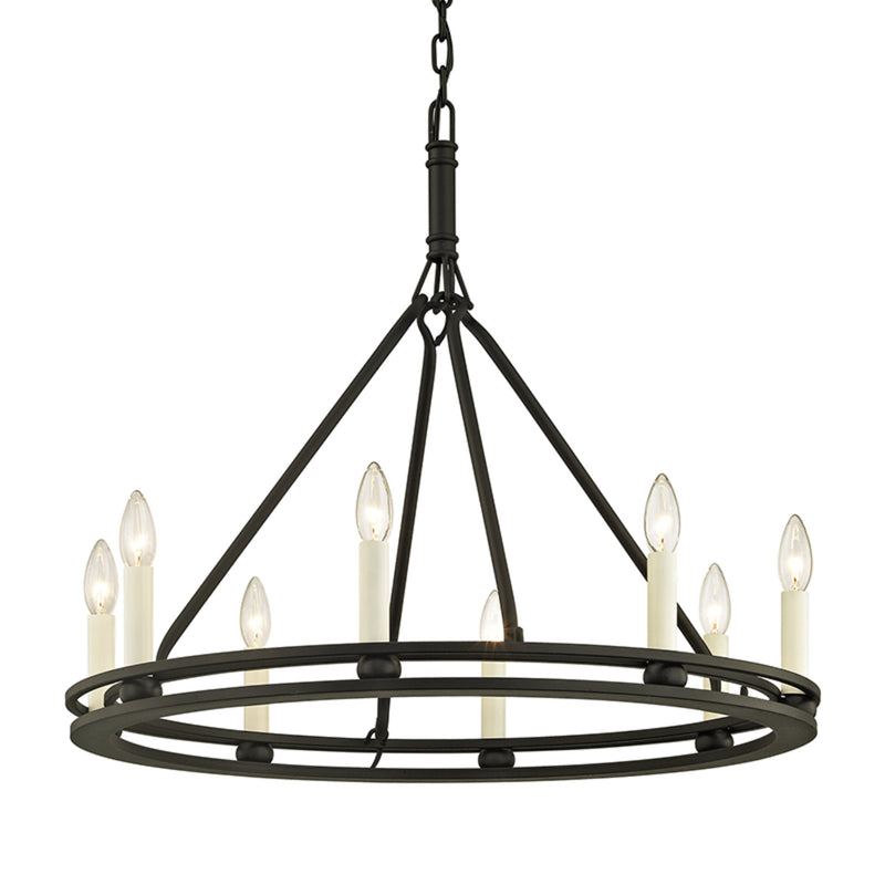 Troy Lighting F6236 Sutton 8lt Chandelier in Hand-Worked Iron