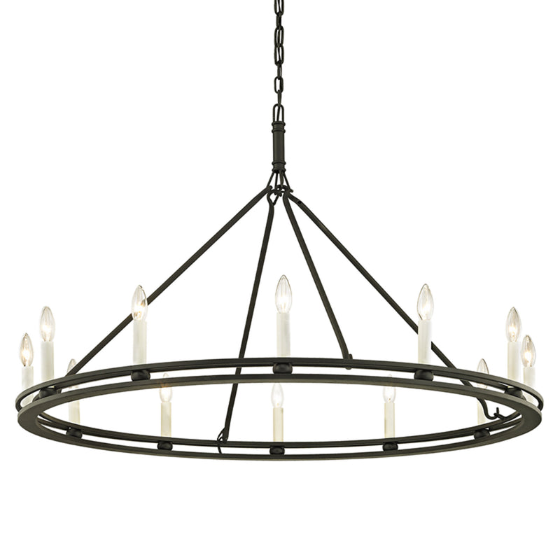 Troy Lighting F6237 Sutton 12lt Chandelier in Hand-Worked Iron
