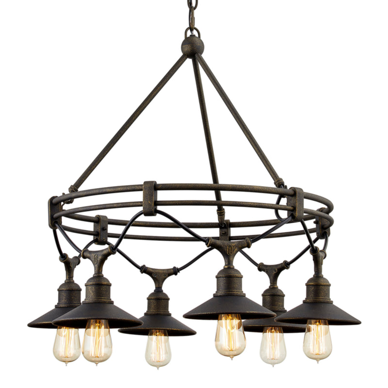 Troy Lighting F7596 Shelton 6lt Chandelier in Hand-Crafted Aluminum