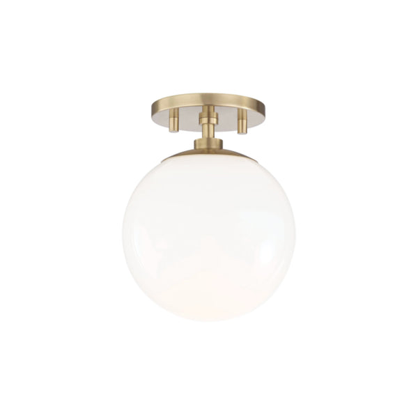 Mitzi by Hudson Valley Lighting H105601-AGB Stella 1 Light Semi Flush in Aged Brass