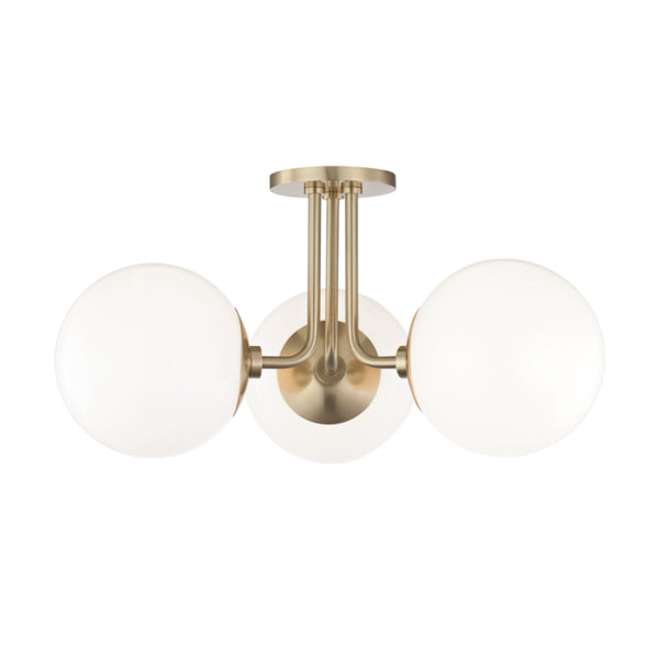 Mitzi by Hudson Valley Lighting H105603-AGB Stella 3 Light Semi Flush in Aged Brass