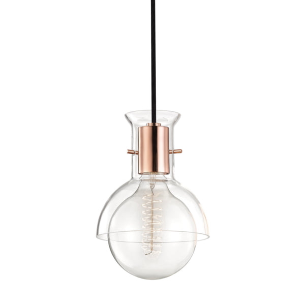 Mitzi by Hudson Valley Lighting H111701G-POC Riley 1 Light Pendant With Glass in Polished Copper