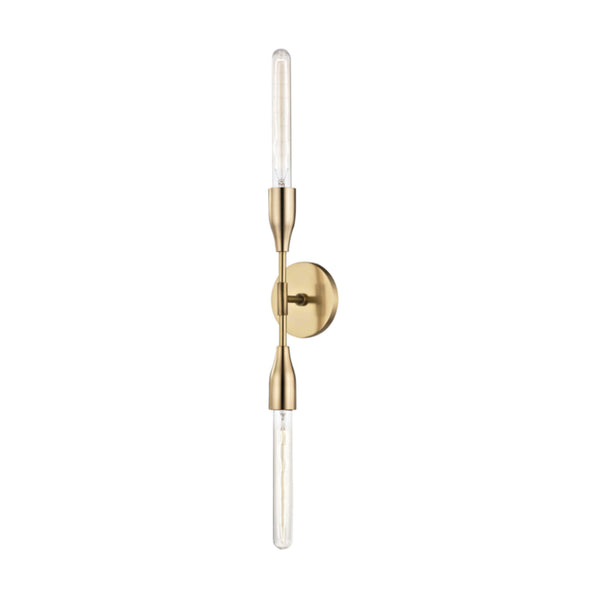 Mitzi by Hudson Valley Lighting H116102-AGB Tara 2 Light Wall Sconce in Aged Brass