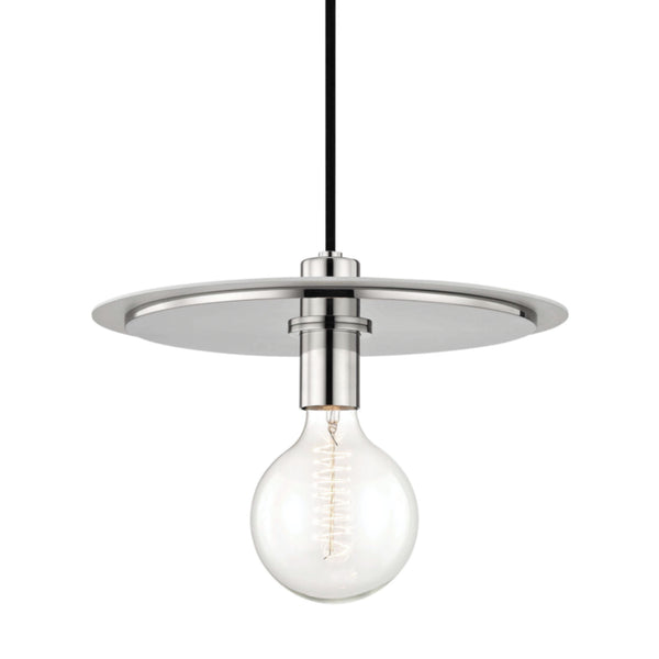Mitzi by Hudson Valley Lighting H137701L-PN/WH Milo 1 Light Large Pendant in Polished Nickel/White