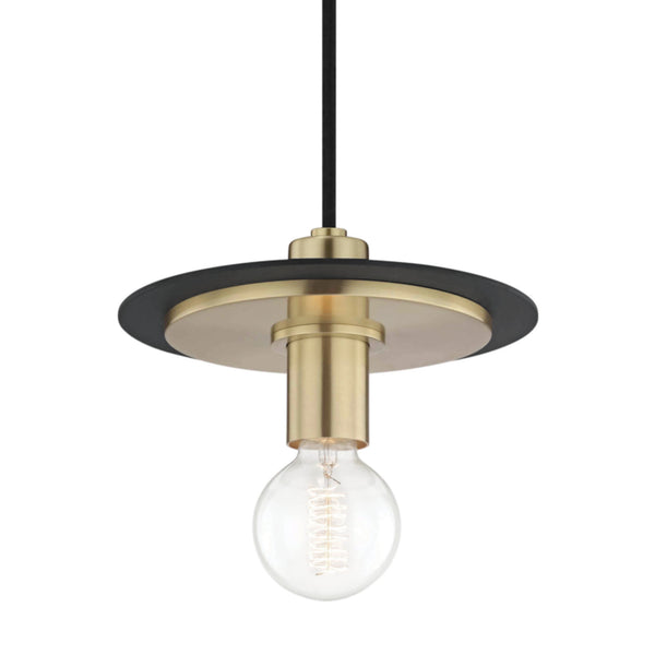 Mitzi by Hudson Valley Lighting H137701S-AGB/BK Milo 1 Light Small Pendant in Aged Brass/Black