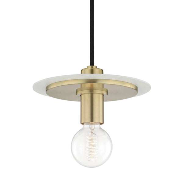 Mitzi by Hudson Valley Lighting H137701S-AGB/WH Milo 1 Light Small Pendant in Aged Brass/White