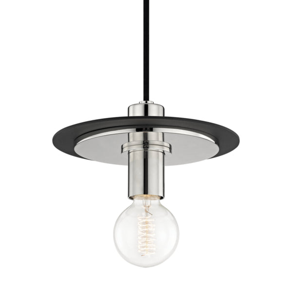 Mitzi by Hudson Valley Lighting H137701S-PN/BK Milo 1 Light Small Pendant in Polished Nickel/Black