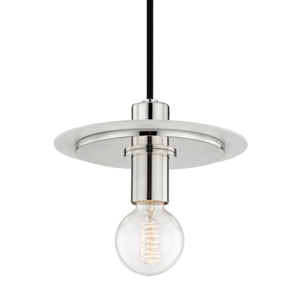 Mitzi by Hudson Valley Lighting H137701S-PN/WH Milo 1 Light Small Pendant in Polished Nickel/White
