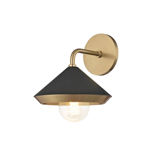 Mitzi by Hudson Valley Lighting H139101-AGB/BK Marnie 1 Light Wall Sconce in Aged Brass/Black