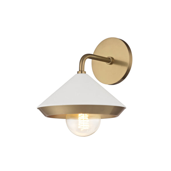 Mitzi by Hudson Valley Lighting H139101-AGB/WH Marnie 1 Light Wall Sconce in Aged Brass/White