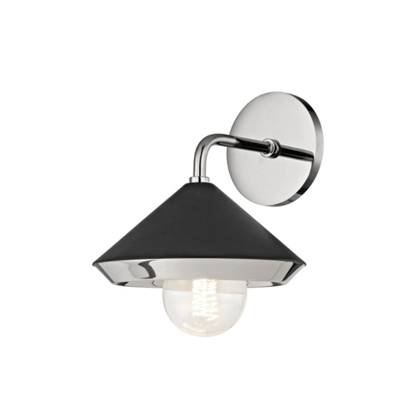 Mitzi by Hudson Valley Lighting H139101-PN/BK Marnie 1 Light Wall Sconce in Polished Nickel/Black