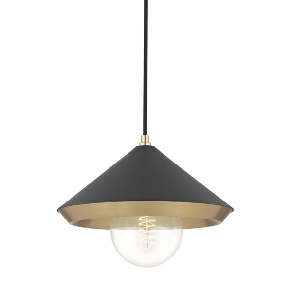 Mitzi by Hudson Valley Lighting H139701L-AGB/BK Marnie 1 Light Large Pendant in Aged Brass/Black
