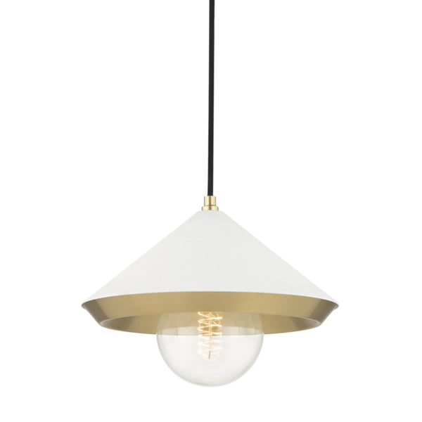 Mitzi by Hudson Valley Lighting H139701L-AGB/WH Marnie 1 Light Large Pendant in Aged Brass/White