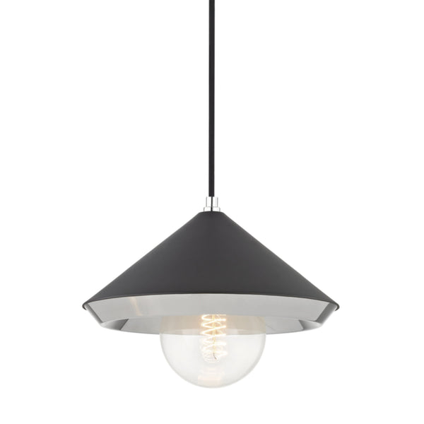 Mitzi by Hudson Valley Lighting H139701L-PN/BK Marnie 1 Light Large Pendant in Polished Nickel/Black