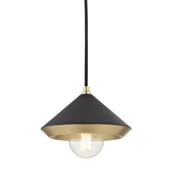 Mitzi by Hudson Valley Lighting H139701S-AGB/BK Marnie 1 Light Small Pendant in Aged Brass/Black