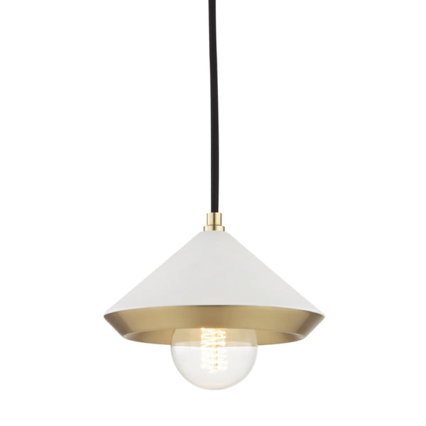 Mitzi by Hudson Valley Lighting H139701S-AGB/WH Marnie 1 Light Small Pendant in Aged Brass/White