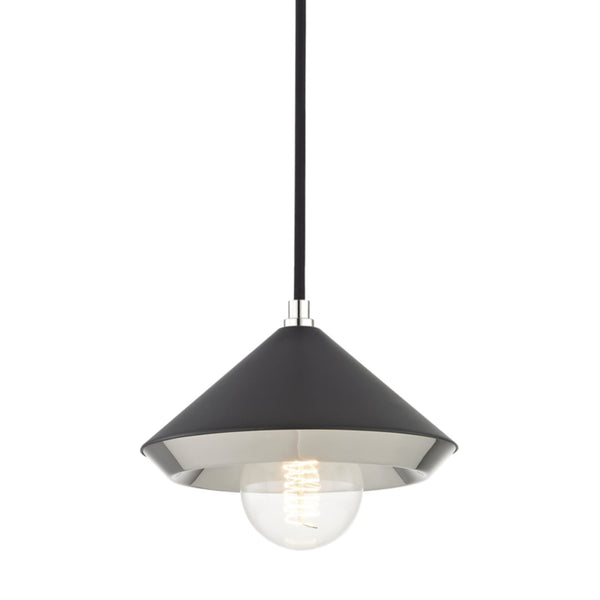 Mitzi by Hudson Valley Lighting H139701S-PN/BK Marnie 1 Light Small Pendant in Polished Nickel/Black