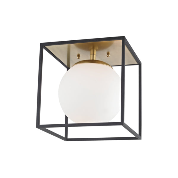 Mitzi by Hudson Valley Lighting H141501S-AGB/BK Aira 1 Light Small Flush Mount in Aged Brass/Black