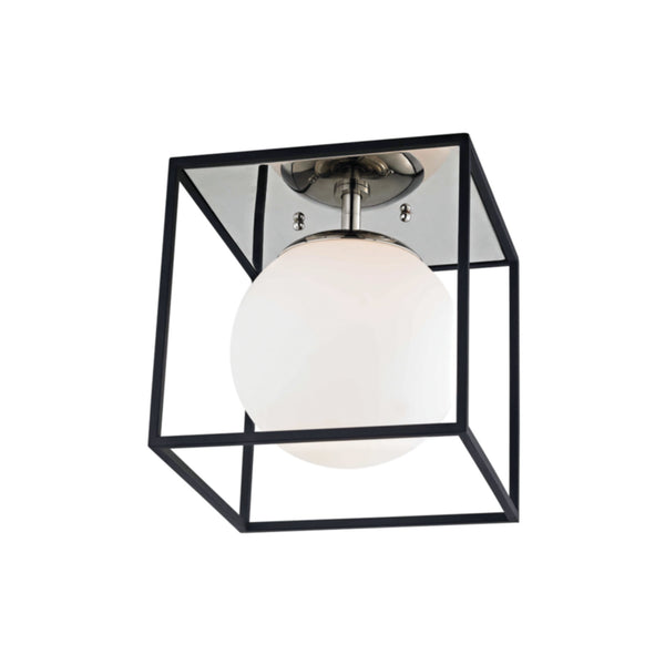 Mitzi by Hudson Valley Lighting H141501S-PN/BK Aira 1 Light Small Flush Mount in Polished Nickel/Black