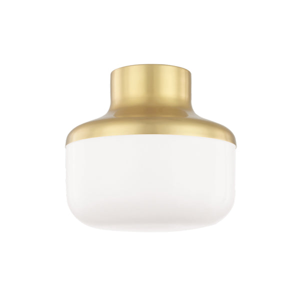 Mitzi by Hudson Valley Lighting H144501S-AGB Livvy 1 Light Flush Mount in Aged Brass